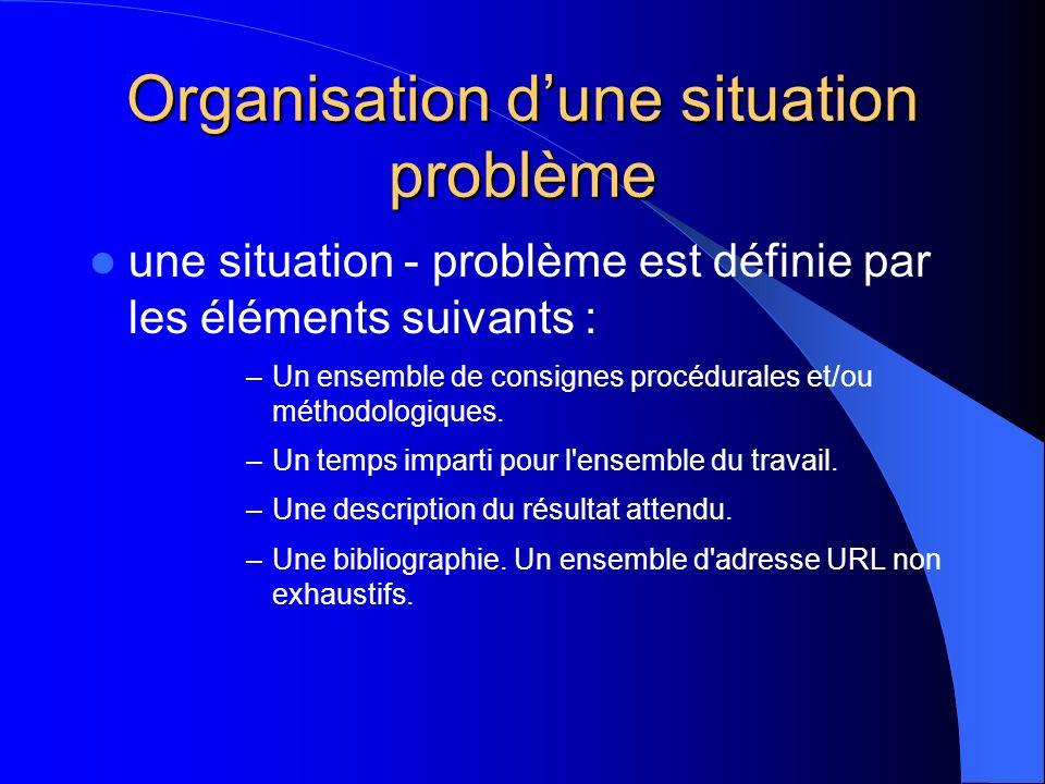 Organisation d'une situation problème