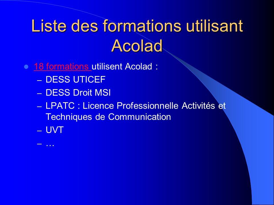 Liste des formations utilisant Acolad