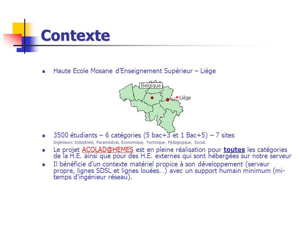 Contexte Haute Ecole Mosane d'Enseignement Supérieur – Liège