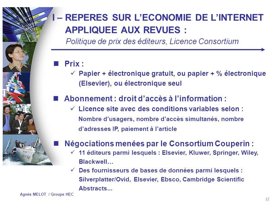I – REPERES SUR L'ECONOMIE DE L'INTERNET APPLIQUEE AUX REVUES :