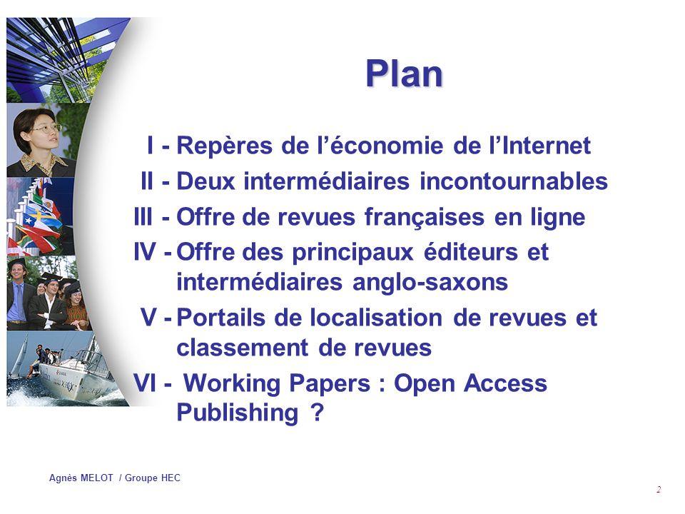 Plan I - Repères de l'économie de l'Internet