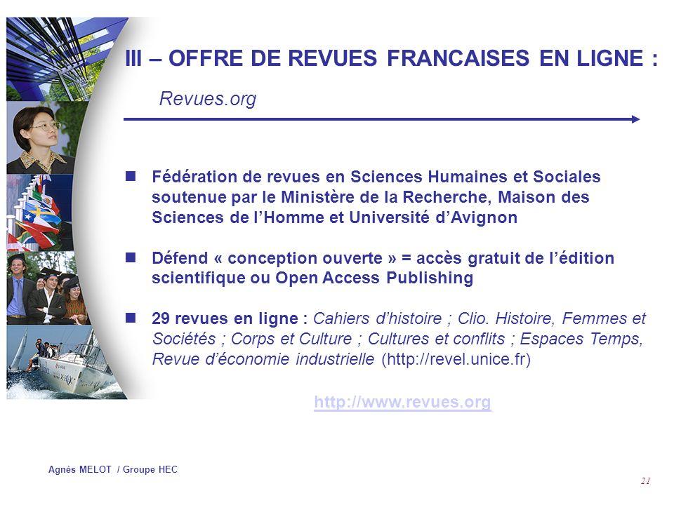 III – OFFRE DE REVUES FRANCAISES EN LIGNE :