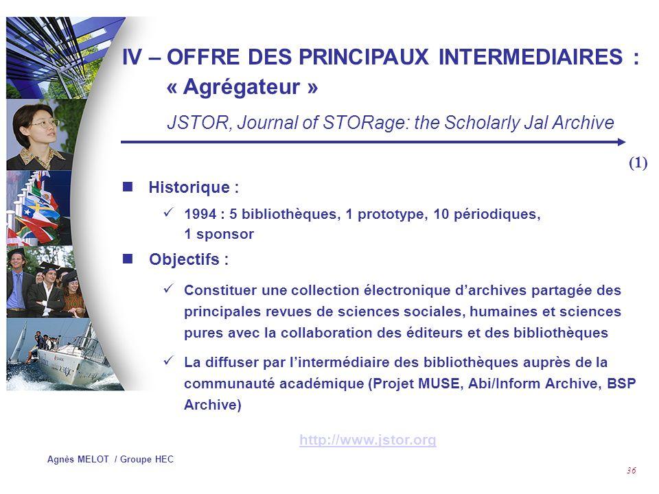 IV – OFFRE DES PRINCIPAUX INTERMEDIAIRES : « Agrégateur »