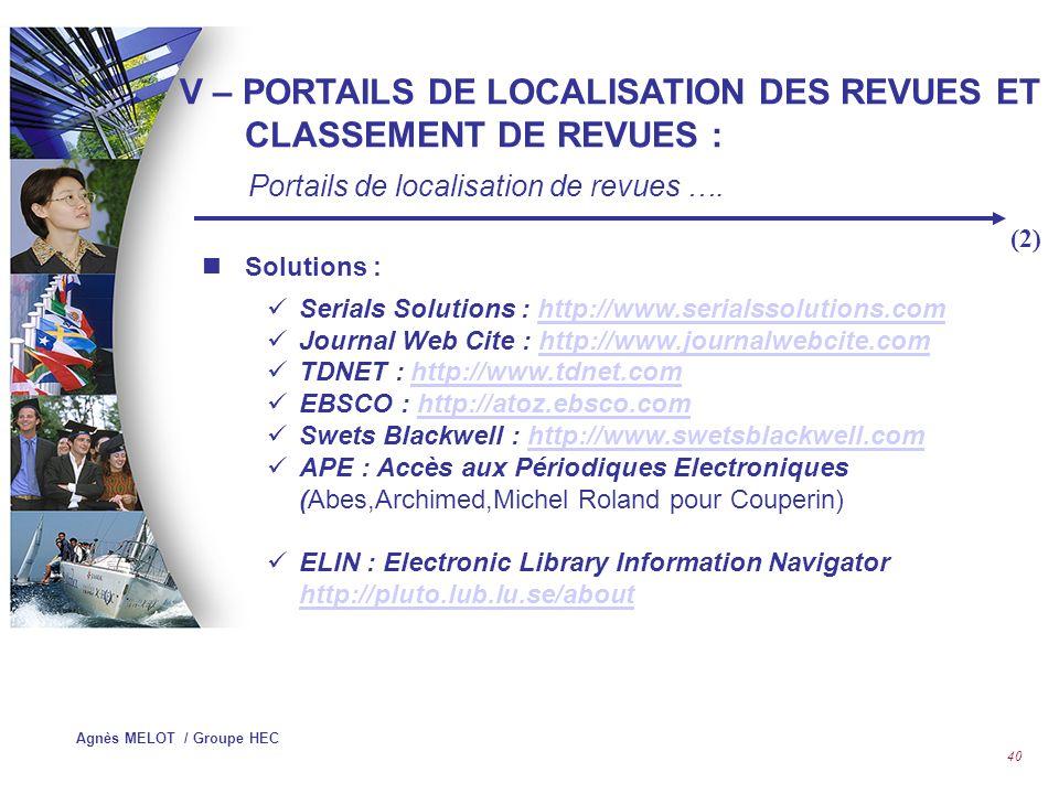 V – PORTAILS DE LOCALISATION DES REVUES ET CLASSEMENT DE REVUES :
