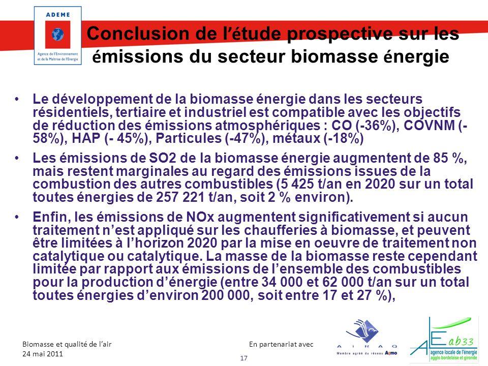 03/11/09 Conclusion de l'étude prospective sur les émissions du secteur biomasse énergie.