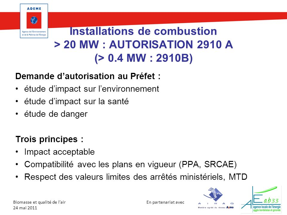 Installations de combustion > 20 MW : AUTORISATION 2910 A (> 0