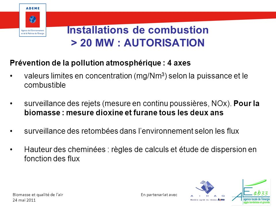 Installations de combustion > 20 MW : AUTORISATION