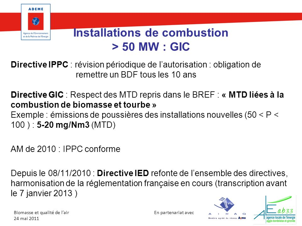 Installations de combustion > 50 MW : GIC