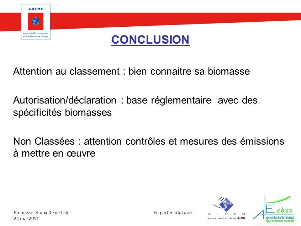 CONCLUSION Attention au classement : bien connaitre sa biomasse