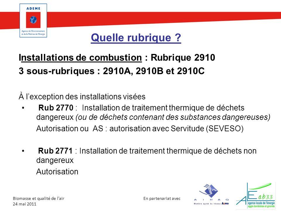 Quelle rubrique Installations de combustion : Rubrique 2910
