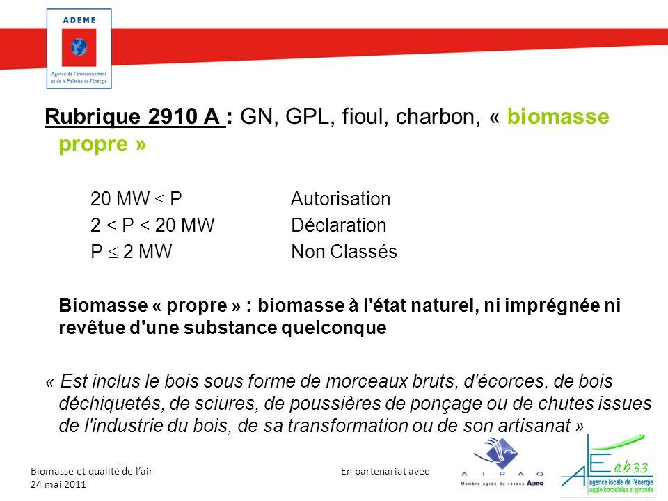 Rubrique 2910 A : GN, GPL, fioul, charbon, « biomasse propre »