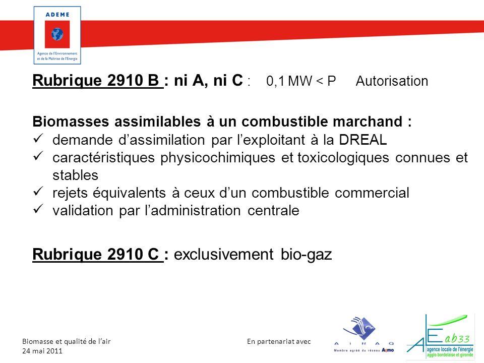 Rubrique 2910 B : ni A, ni C : 0,1 MW < P Autorisation