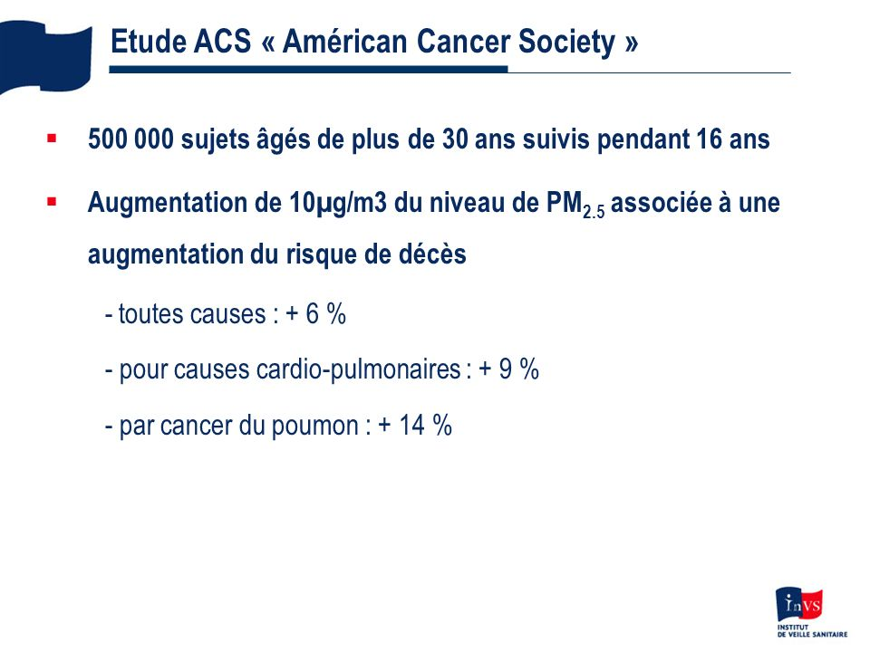 Etude ACS « Américan Cancer Society »