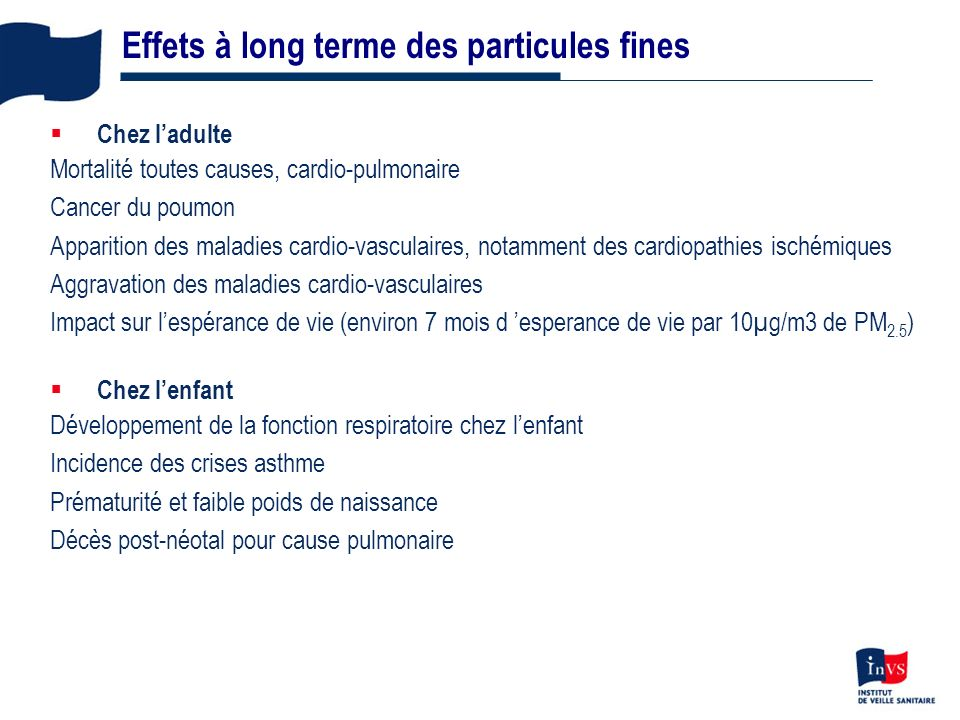 Effets à long terme des particules fines