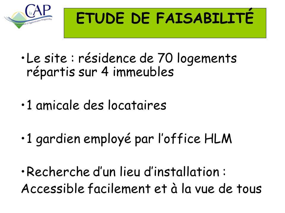 ETUDE DE FAISABILITÉ Le site : résidence de 70 logements répartis sur 4 immeubles. 1 amicale des locataires.