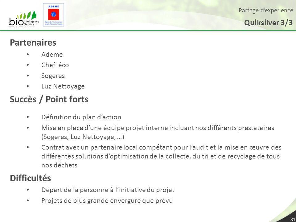 Partenaires Succès / Point forts Difficultés Quiksilver 3/3 Ademe