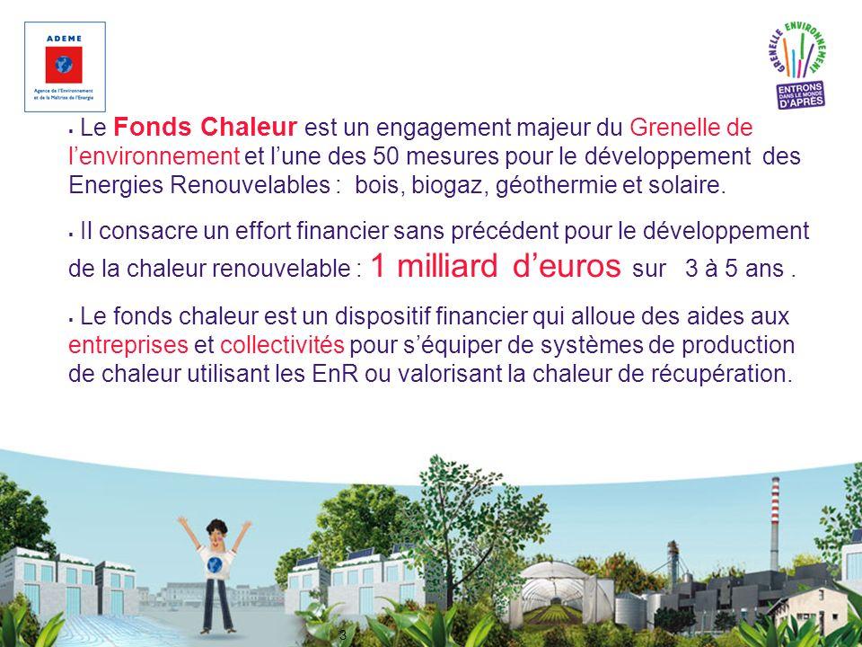 Le Fonds Chaleur est un engagement majeur du Grenelle de l'environnement et l'une des 50 mesures pour le développement des Energies Renouvelables : bois, biogaz, géothermie et solaire.