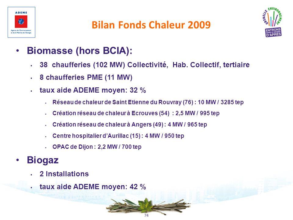 Bilan Fonds Chaleur 2009 Biomasse (hors BCIA): Biogaz