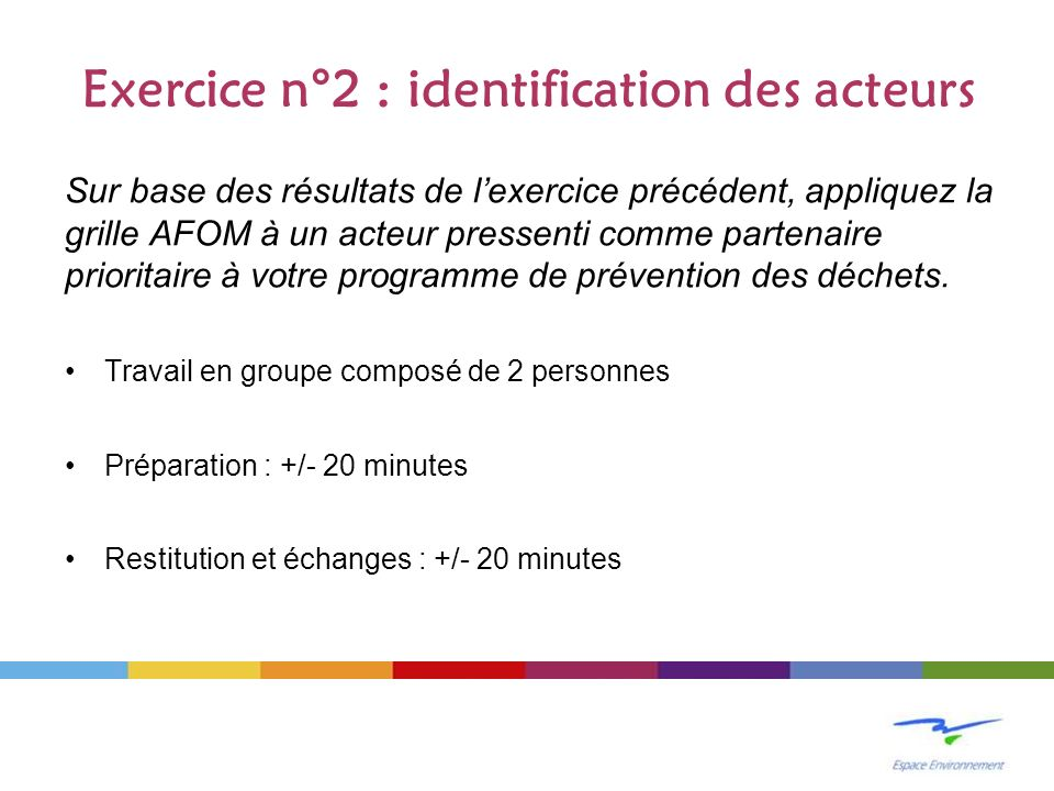 Exercice n°2 : identification des acteurs