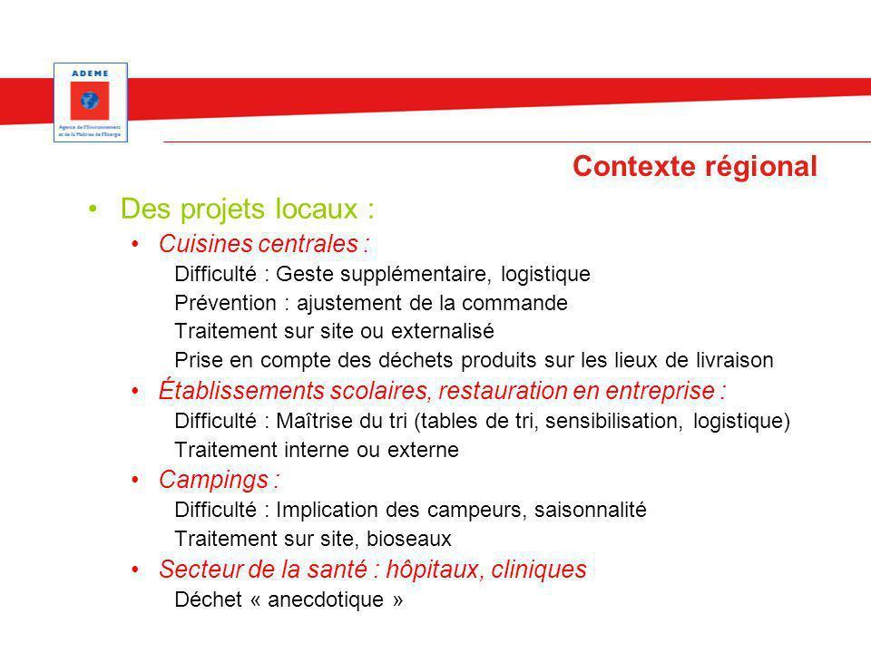 Contexte régional Des projets locaux : Cuisines centrales :