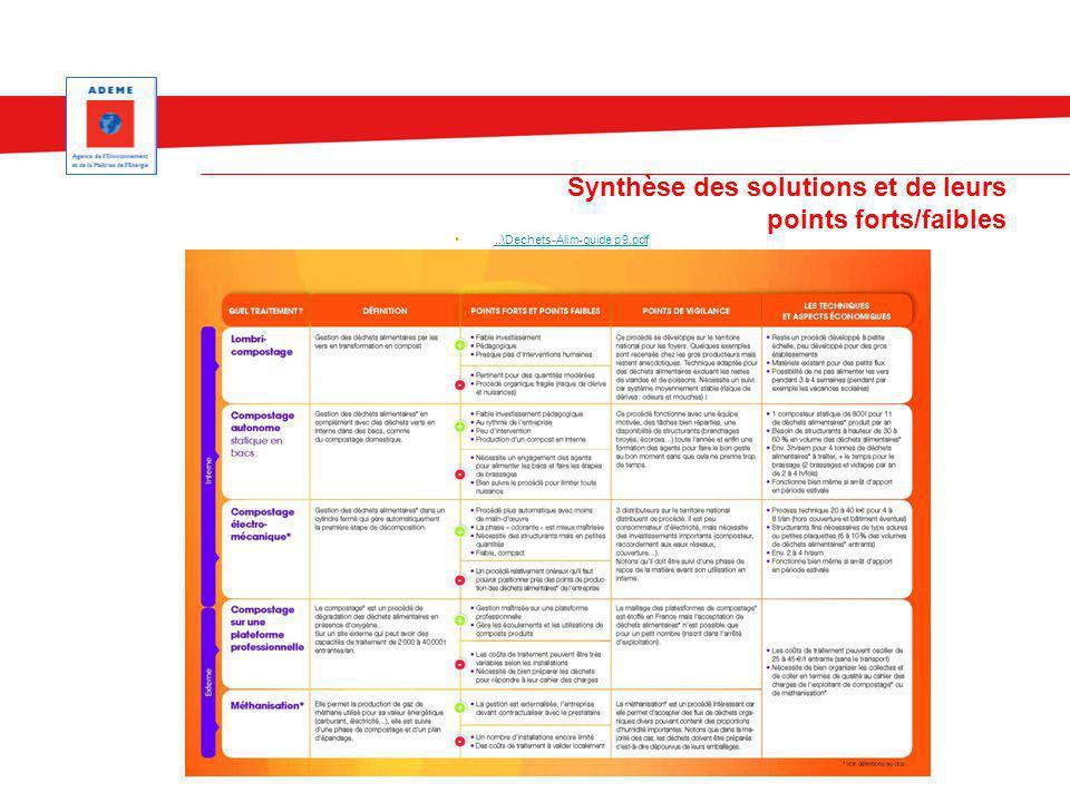Synthèse des solutions et de leurs points forts/faibles