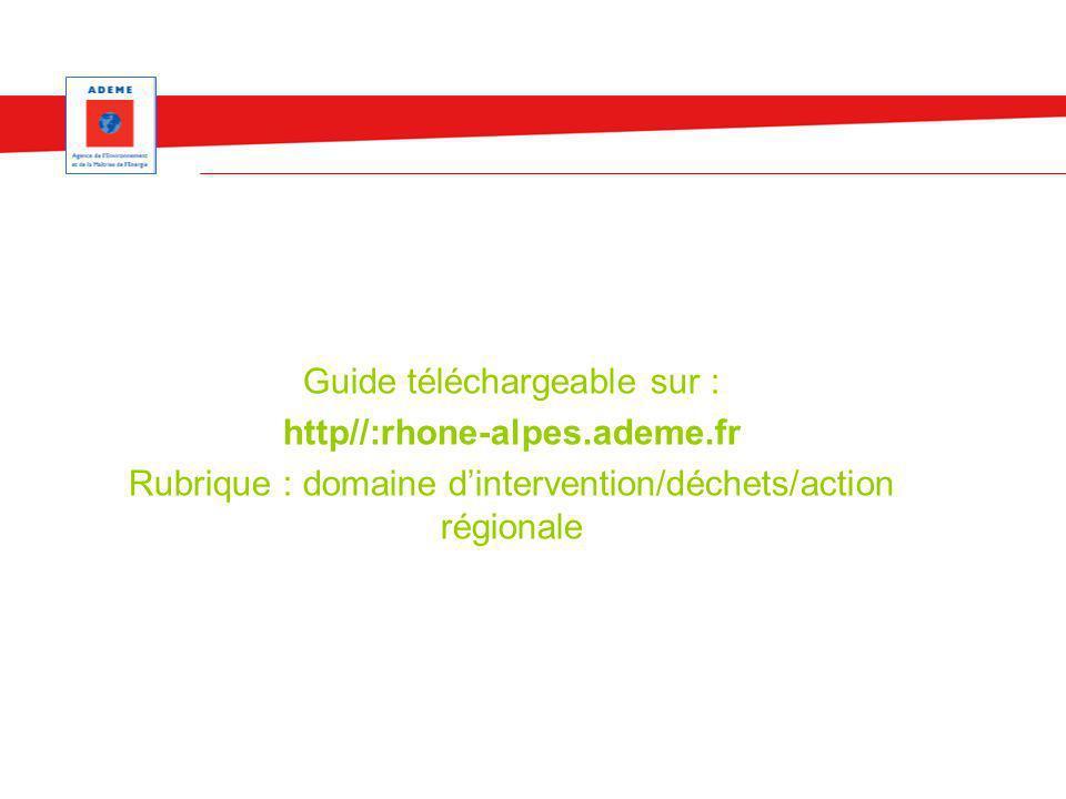 Guide téléchargeable sur : http//:rhone-alpes.ademe.fr