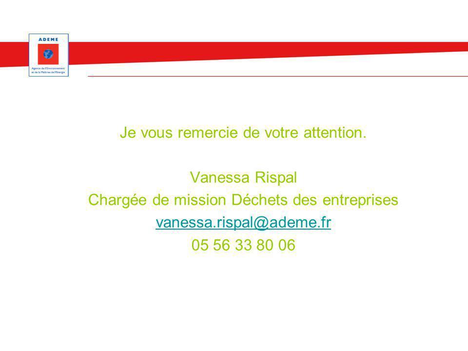 Je vous remercie de votre attention. Vanessa Rispal