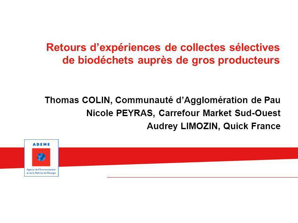 Retours d'expériences de collectes sélectives de biodéchets auprès de gros producteurs