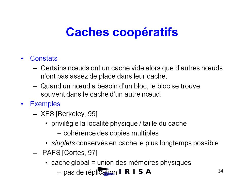 Caches coopératifs Constats