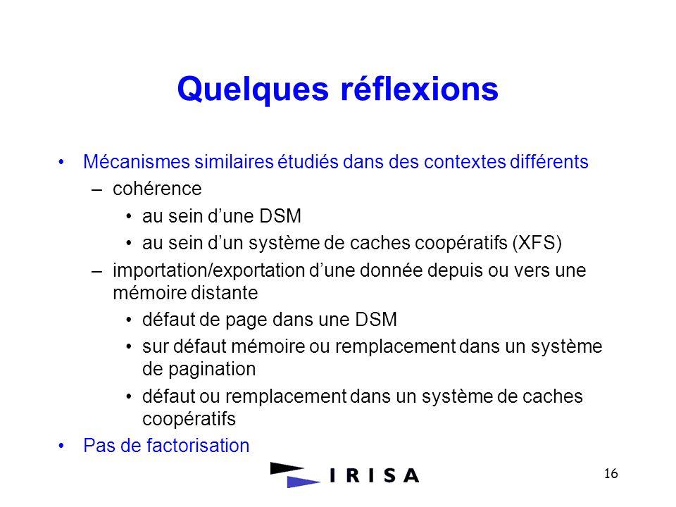 Quelques réflexions Mécanismes similaires étudiés dans des contextes différents. cohérence. au sein d'une DSM.