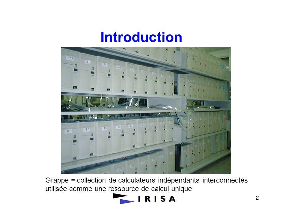 IntroductionGrappe = collection de calculateurs indépendants interconnectés.