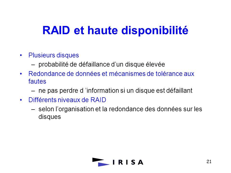 RAID et haute disponibilité