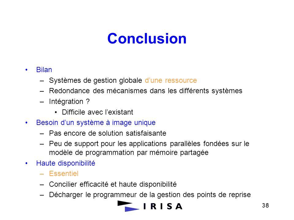 Conclusion Bilan Systèmes de gestion globale d'une ressource