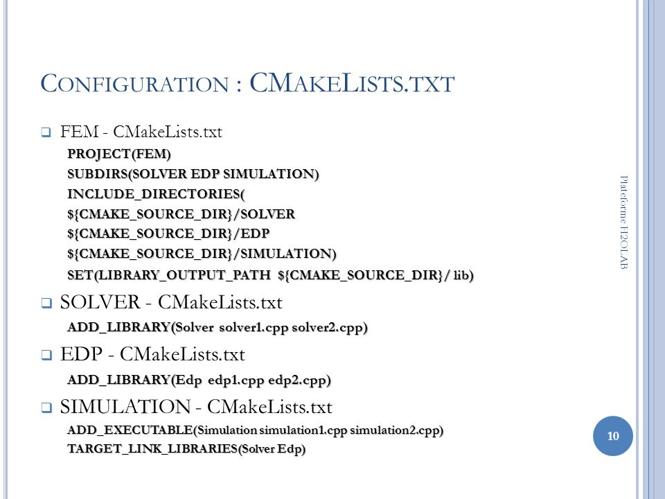Configuration : CMakeLists.txt