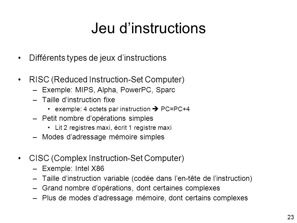 Jeu d'instructions Différents types de jeux d'instructions