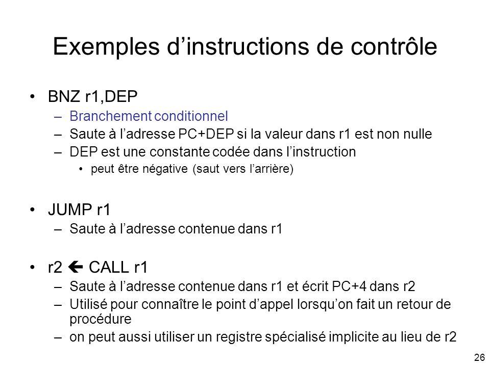 Exemples d'instructions de contrôle