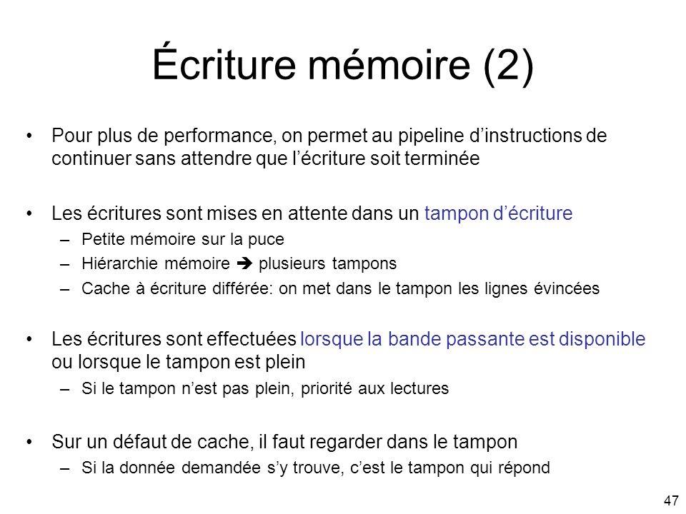 Écriture mémoire (2) Pour plus de performance, on permet au pipeline d'instructions de continuer sans attendre que l'écriture soit terminée.