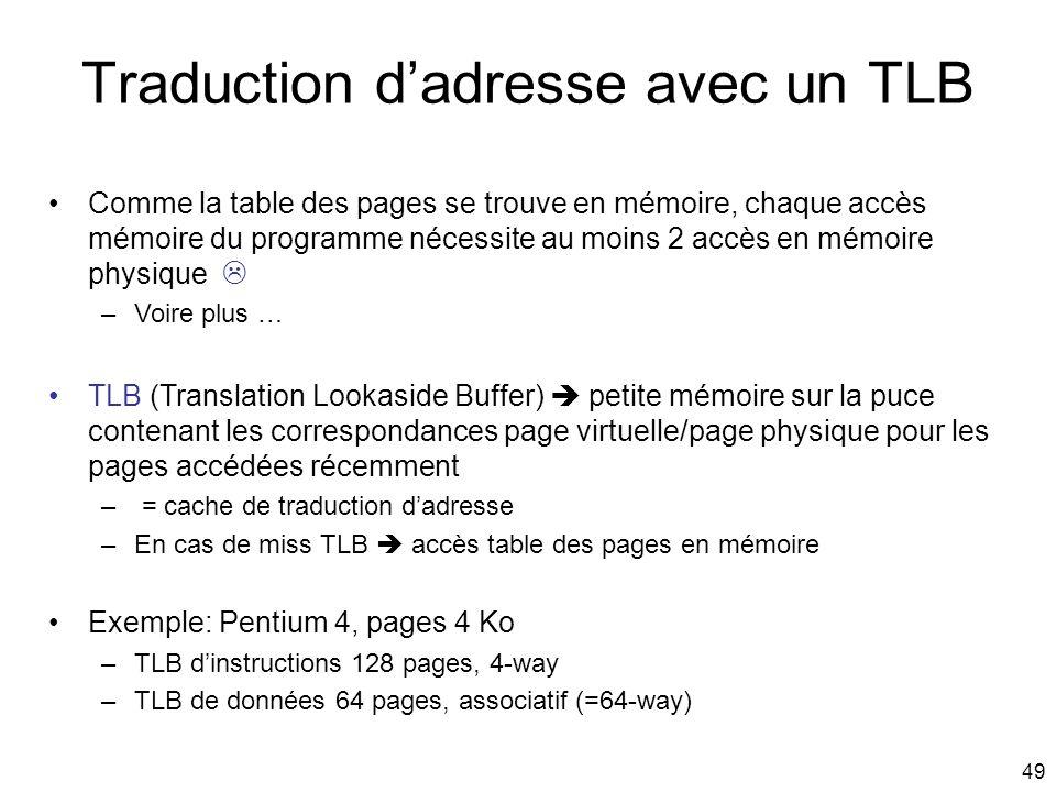 Traduction d'adresse avec un TLB