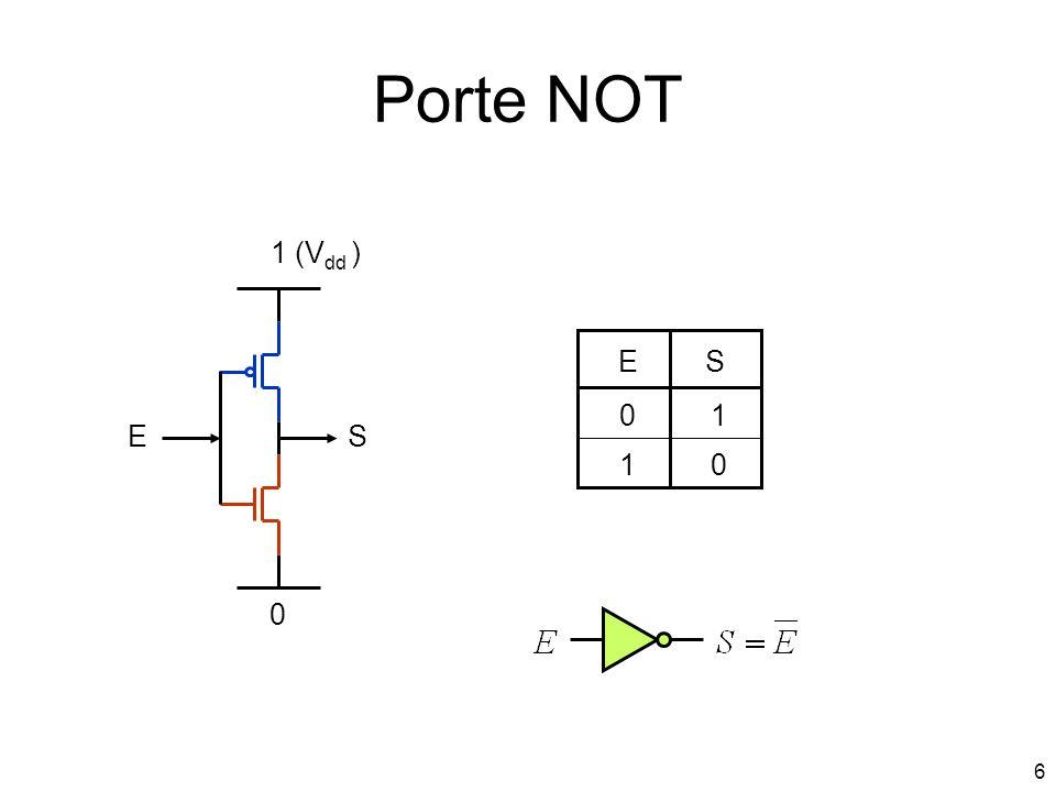 Porte NOT 1 (Vdd ) E S 1 E S 1