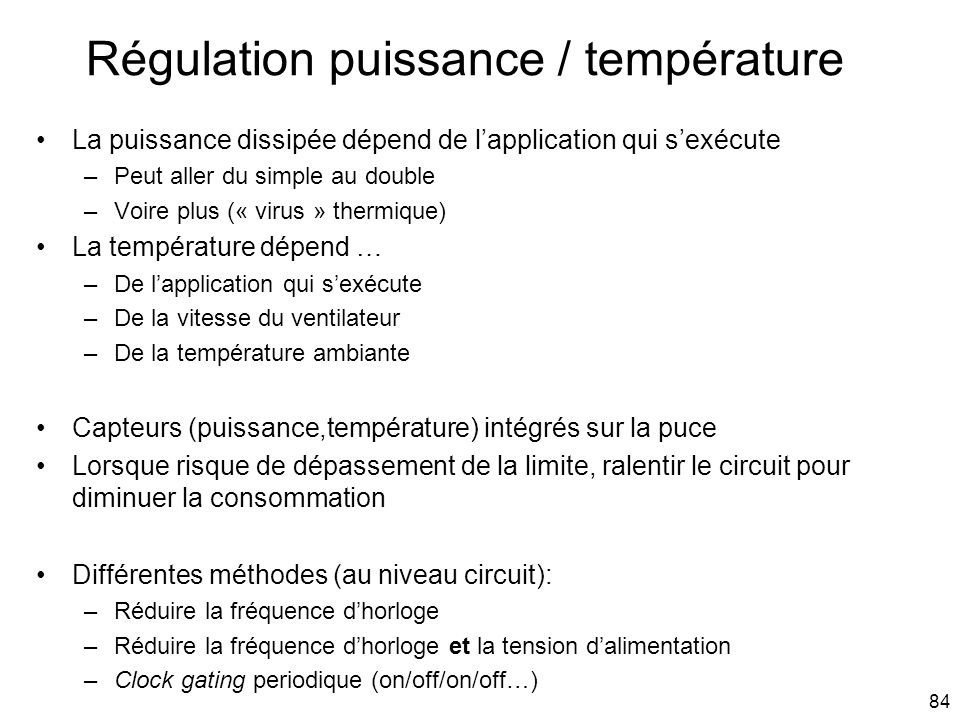Régulation puissance / température
