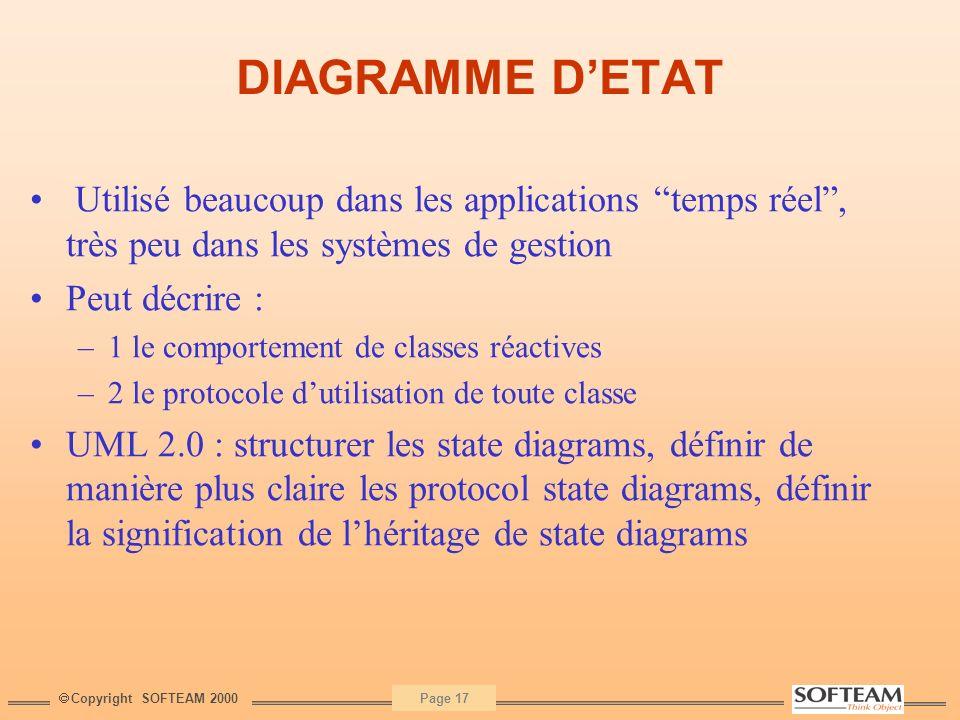 DIAGRAMME D'ETAT Utilisé beaucoup dans les applications temps réel , très peu dans les systèmes de gestion.