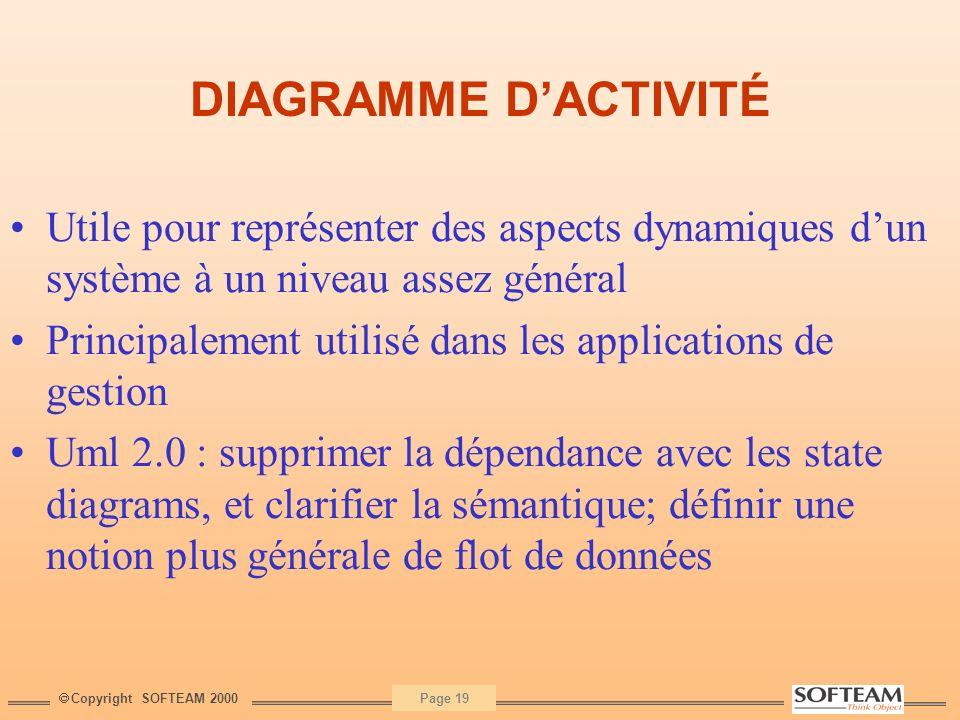 DIAGRAMME D'ACTIVITÉ Utile pour représenter des aspects dynamiques d'un système à un niveau assez général.
