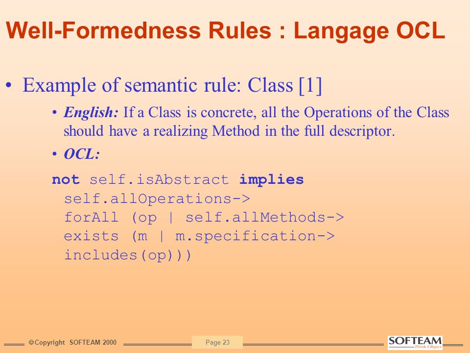 Well-Formedness Rules : Langage OCL