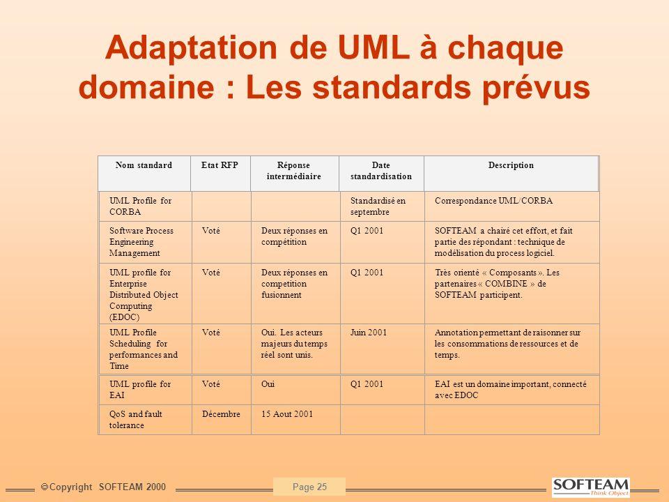 Adaptation de UML à chaque domaine : Les standards prévus