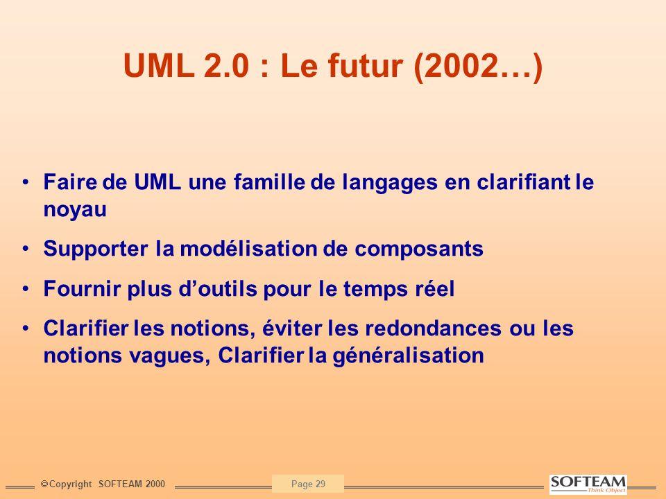 UML 2.0 : Le futur (2002…) Faire de UML une famille de langages en clarifiant le noyau. Supporter la modélisation de composants.