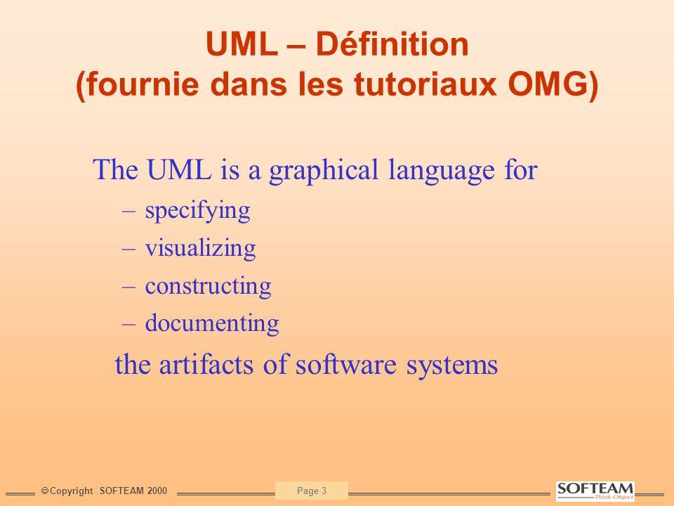 UML – Définition (fournie dans les tutoriaux OMG)