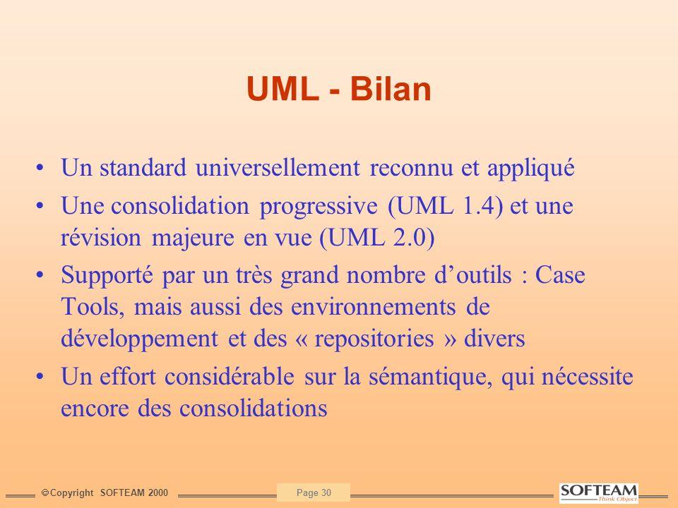 UML - Bilan Un standard universellement reconnu et appliqué