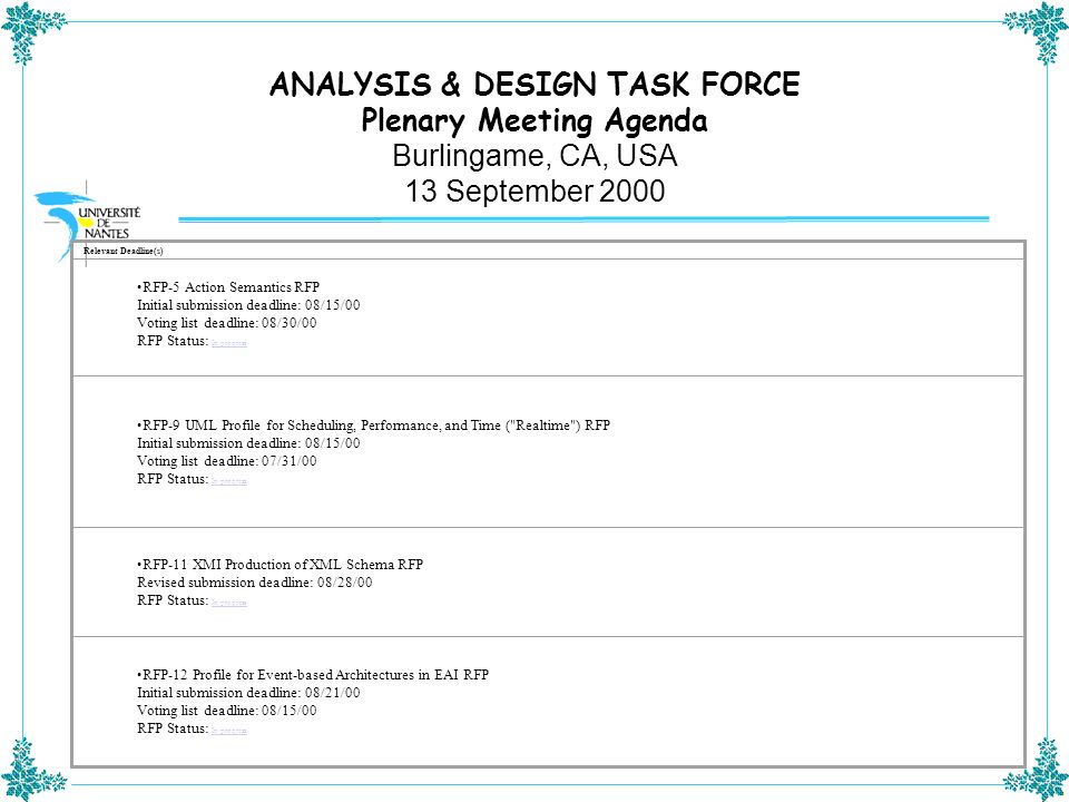 ANALYSIS & DESIGN TASK FORCE Plenary Meeting Agenda Burlingame, CA, USA 13 September 2000