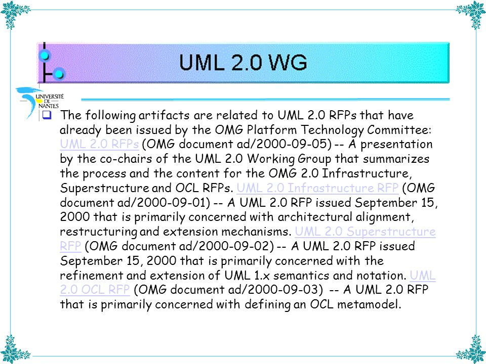 The following artifacts are related to UML 2