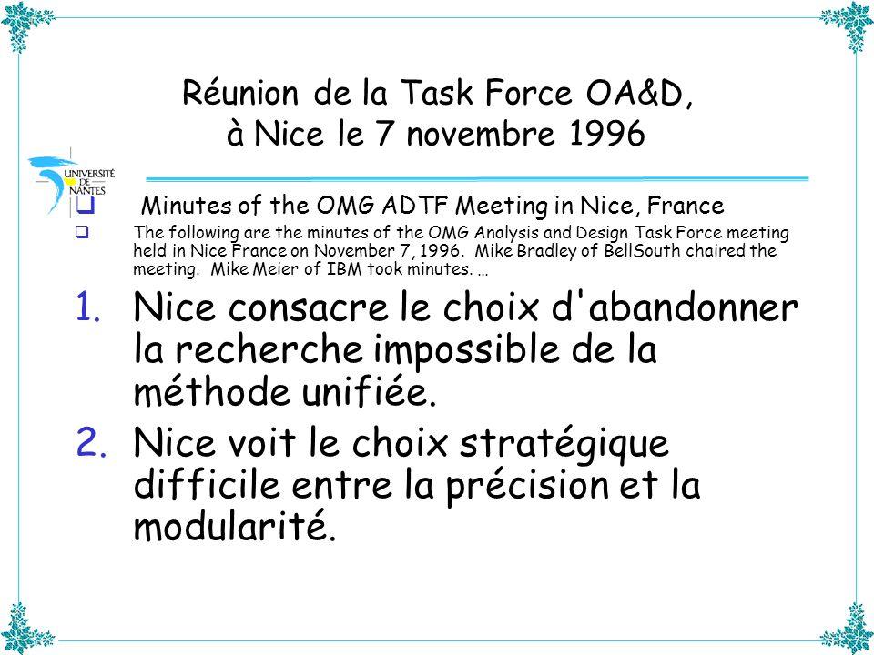 Réunion de la Task Force OA&D, à Nice le 7 novembre 1996